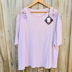 Lilac Purple Blouse With Lace Design